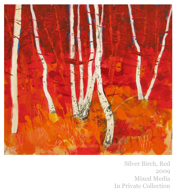 Silver Birch, Red, Mixed Media